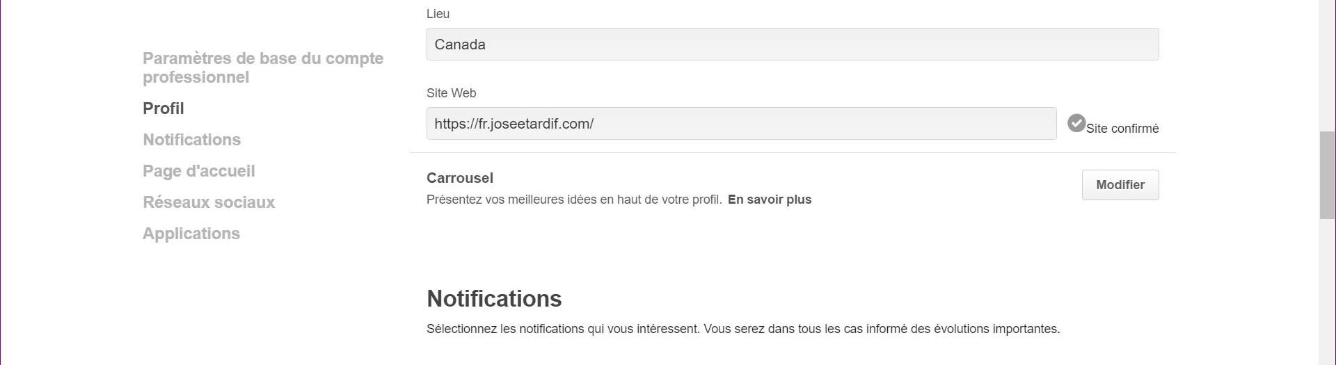 Fenêtre pour valider site web dans Pinterest