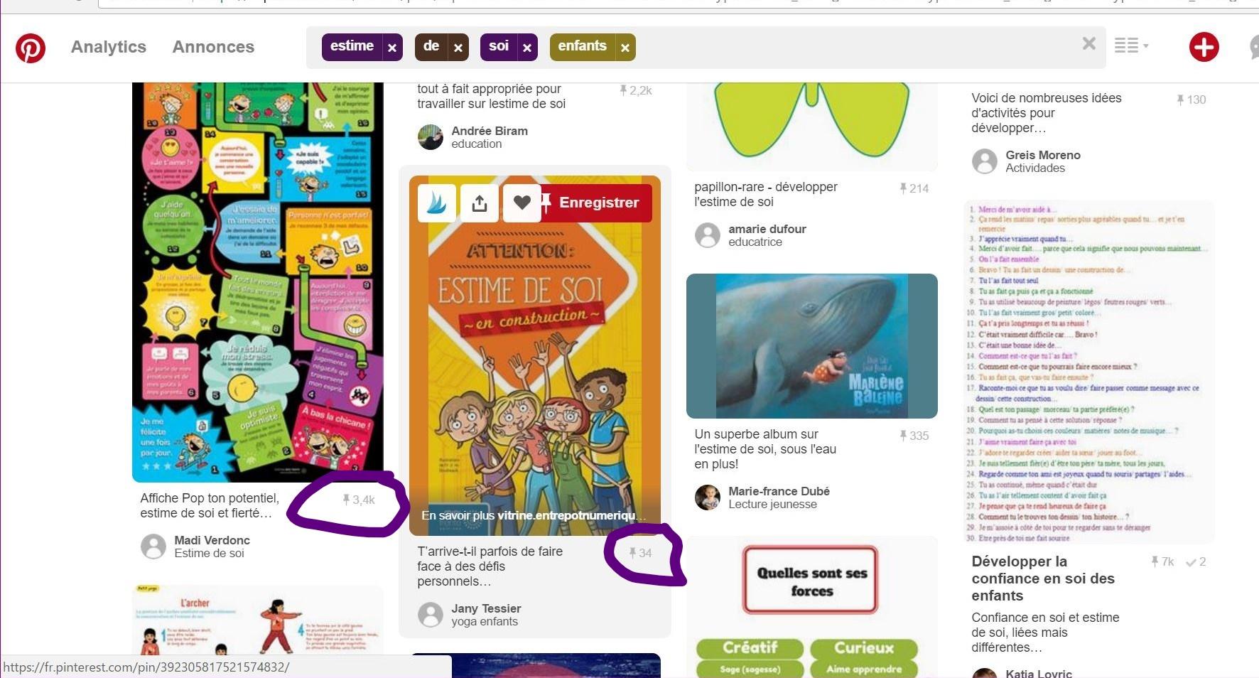Exemple de résultats de recherche dans Pinterest.