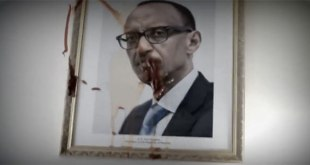 Ambassade du Rwanda à Paris : Les Congolais ont aspergé de la peinture rouge sang sur le portrait du dictateur rwandais Paul KAGAME.