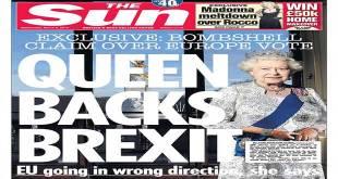 """La Une du journal britannique """"The Sun"""", """"Queen Backs Brexit""""."""