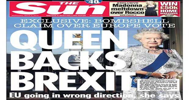 "La Une du journal britannique ""The Sun"", ""Queen Backs Brexit""."