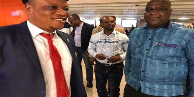 Jean-Mark Kabund A Kabund [gauche] et Antoine Felix Tshilombo Tshisekedi, respectivement SG et President de l'UDPS/Tshisekedi.