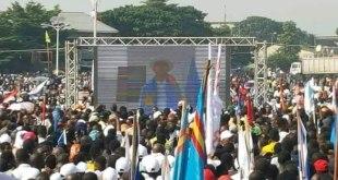 Moise KATUMBI [sur ecran] lors de son speech au meeting d'Ensemble du 09 Juin 2018.