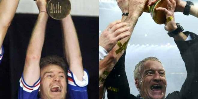 deux trophées pour Didier Deschamps- comme joueur en France (g) en 1998 et comme sélectionneur à Moscou en 2018.
