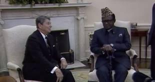 Visite de travail Mobutu et Reagan, Maison Blanche, Washington, 1986.