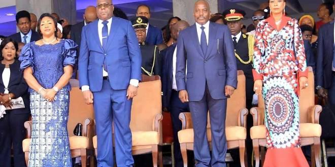 Fatshi et Kabila au milieu de First Ladies de la RDC.
