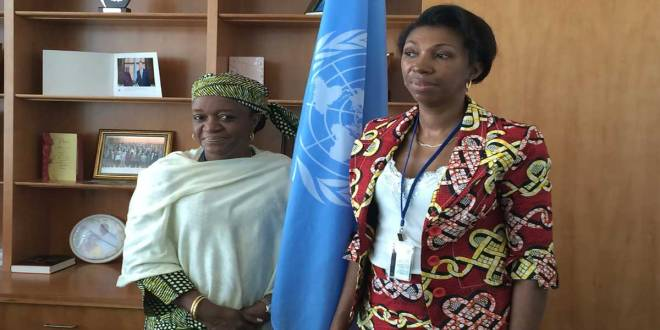 Bangura [left] meeting with Jeanine Mabunda [right].