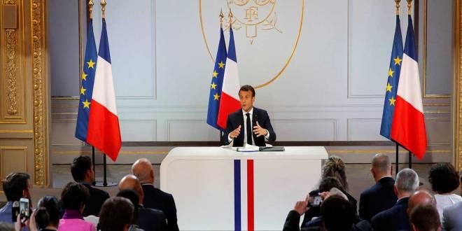 Emmanuel Macron, Président français lors d'une conference de presse, le 25 avril 2019.
