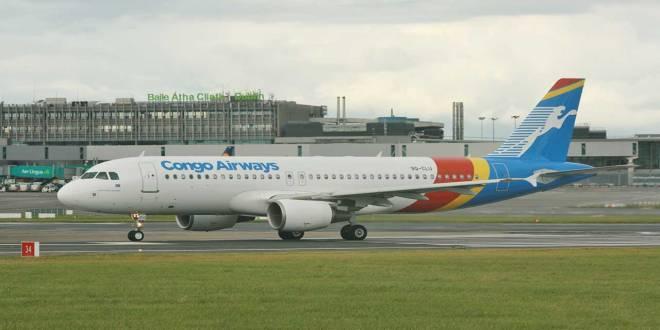 Parker, un avion de Congo Airways, a l'aéroport de Dublin.