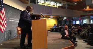 Martin FAYULU MADIDI, candidat malheureux de la présidentielle 2018 en RDC, lors d'une conference de presse, Harvard Kennedy School.