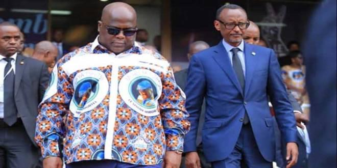 Fatshi [gauche], président de la RDC et son Homologue rwandais Paul Kagame, lors des obsèques de son Père au Stade des Martyrs de Kinshasa.
