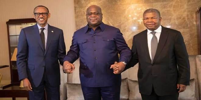Fatshi [au milieu], président de la RDC et, ses Homologues rwandais et angolais.