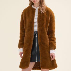 Manteau en fausse fourrure : Manteaux couleur Caramel