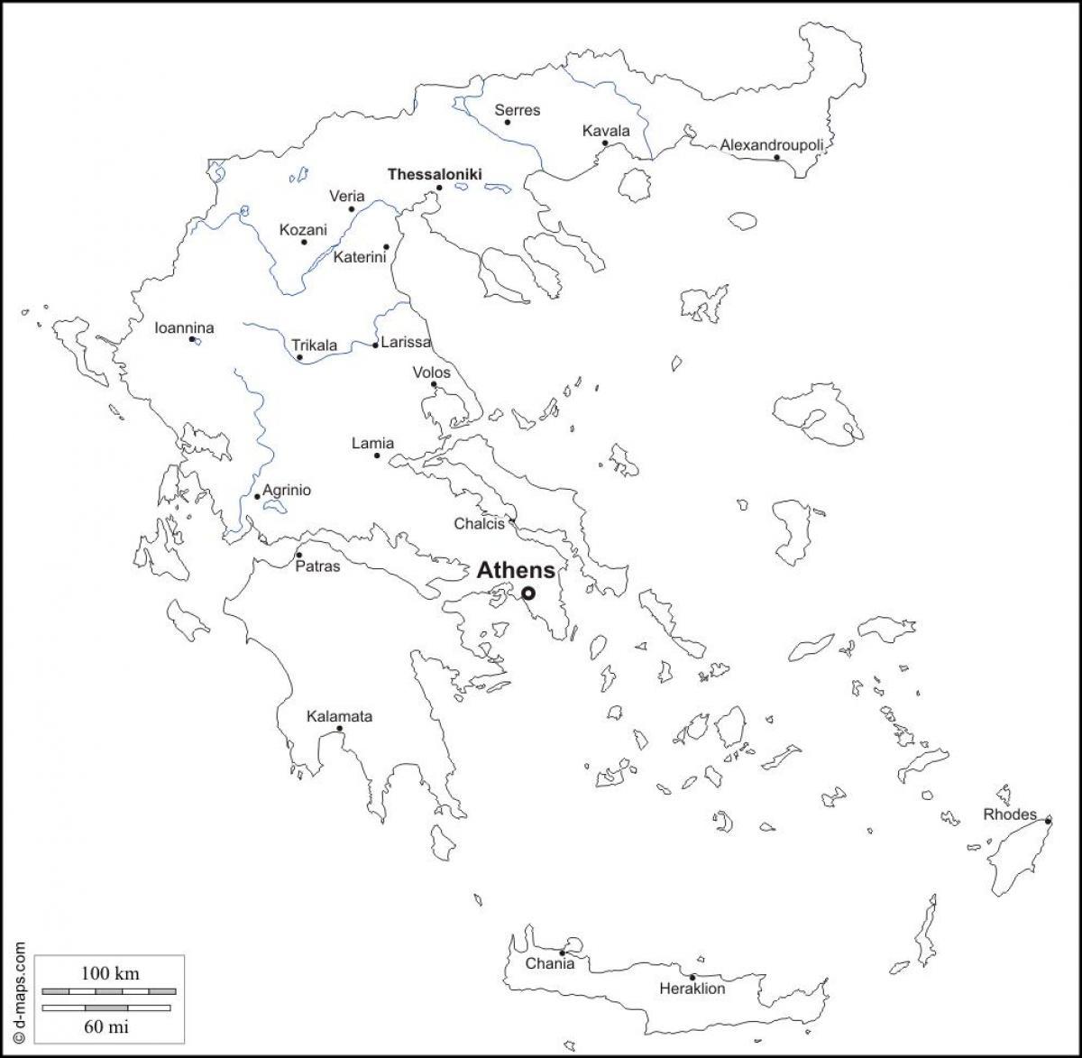 la grece carte en noir et blanc carte