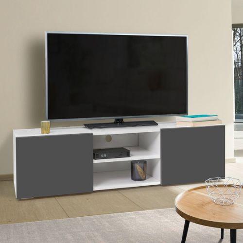 achat meuble tv gris et blanc pas cher