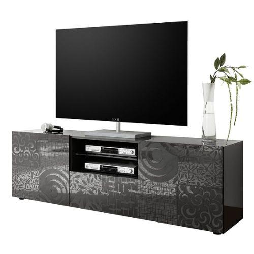achat meuble tv gris laque pas cher