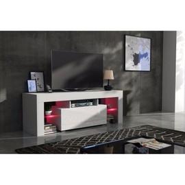 achat meuble tv blanc laque 130 cm pas