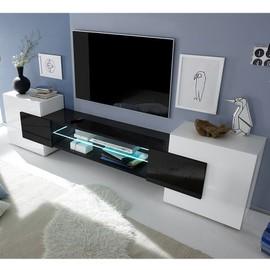 achat meuble tv laque blanc et noir pas