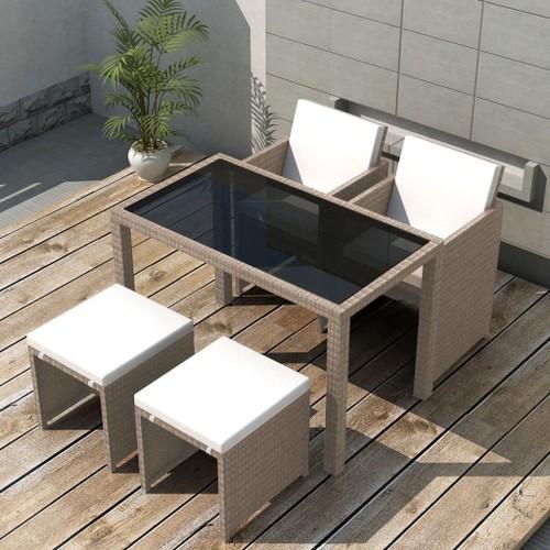 salon de jardin encastrable avec coussins 5 pcs rotin beige