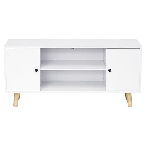 jeobest meuble tv scandinave pieds en bois blanc