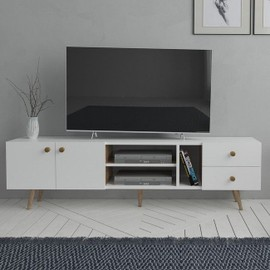 homemania sedef meuble tv moderne avec portes etageres par salotto blanc chene en bois 160 x 30 x 45 cm