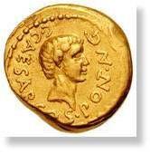 Monnaie en or à l'effigie de César