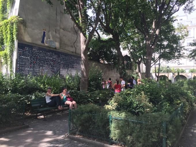 Square Jean Rictus et mur des je t'aime à Montmartre