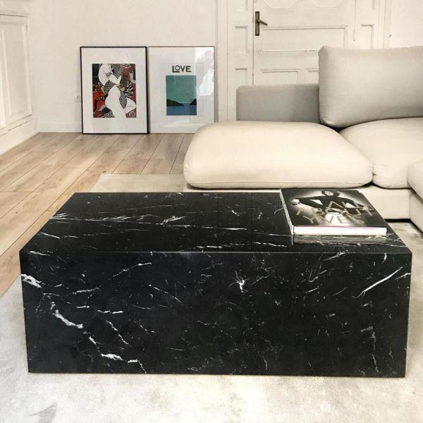 Table en marbre noir modèle Paris pour salle à manger