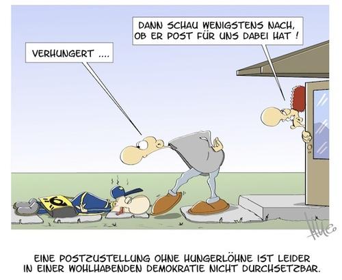 Cartoon: Mindestlohn (medium) by Marcus tagged post,mindestlohn,hartz,lv,regierung,tarif,lohndumping,niedriglohn,zeitarbeit