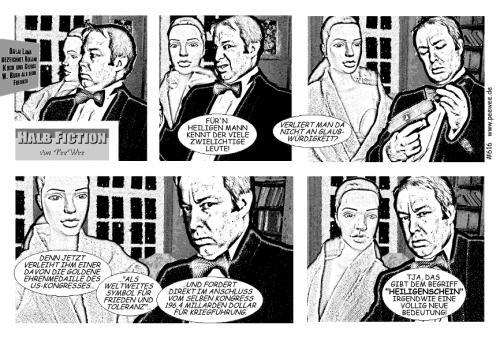 Cartoon: Halb Fiction 616 (medium) by PeeWee tagged dalai,lama,freunde,roland,koch,george,bush,