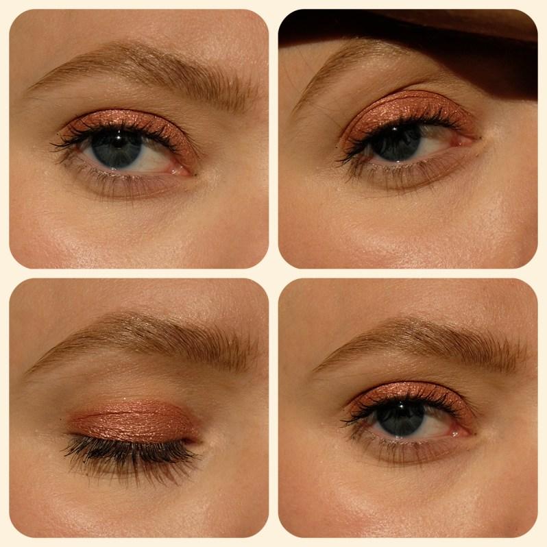 Maquillage pour les yeux réalisé à partir d'une ombre à paupière à base de mica éthique de Shared Planet