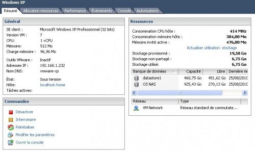 VM dans vSphere Client