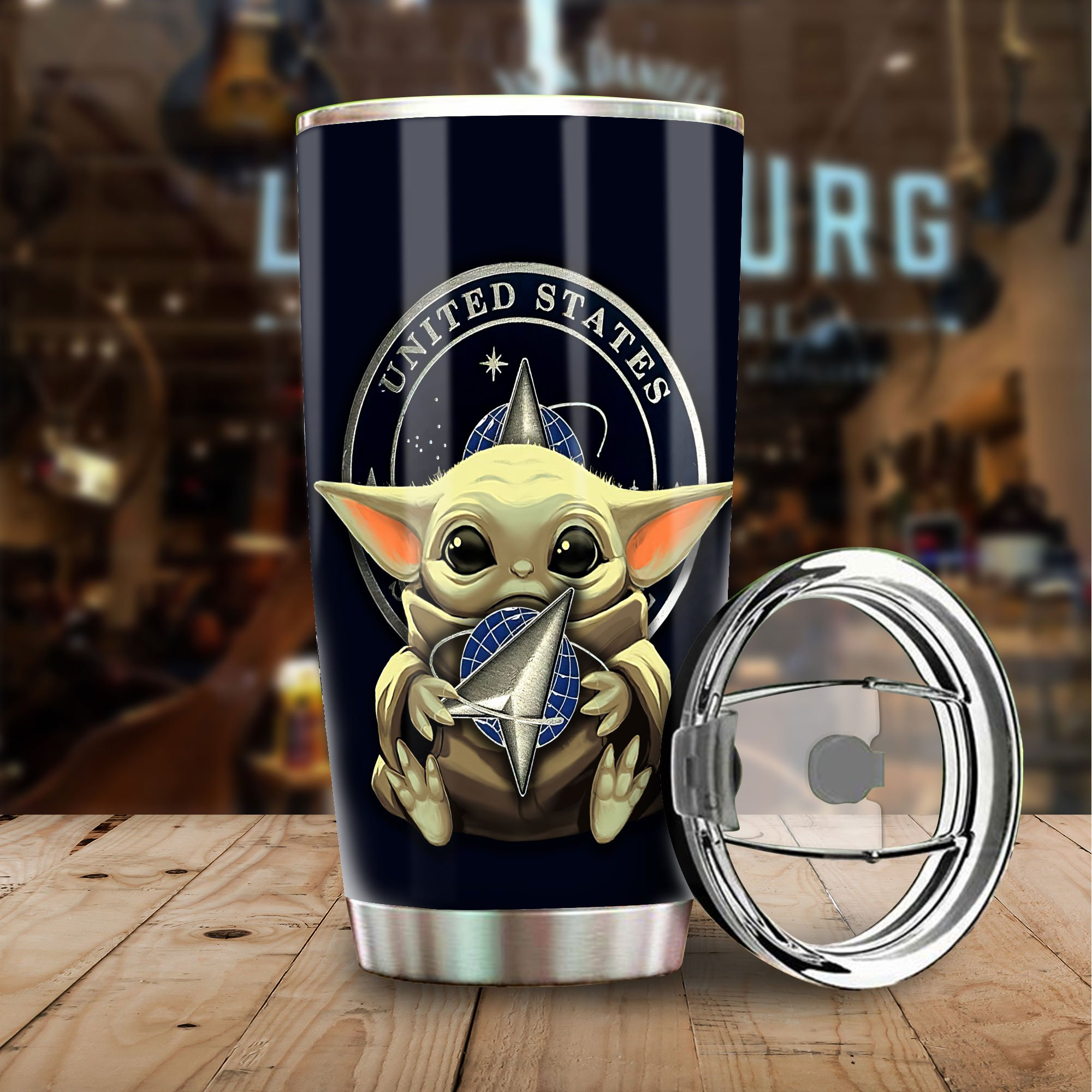 89fashion Ussf Tumbler Cup Baby Yoda Us Space Force Coffee Cup Gift Size 20 Oz Drinkwater & Tumbler