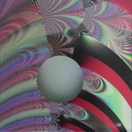"The Ball Went Over the Fence 3, Lianne Todd. Original Fractal Digital Art, single edition print on metal, 16x16"". SOLD"