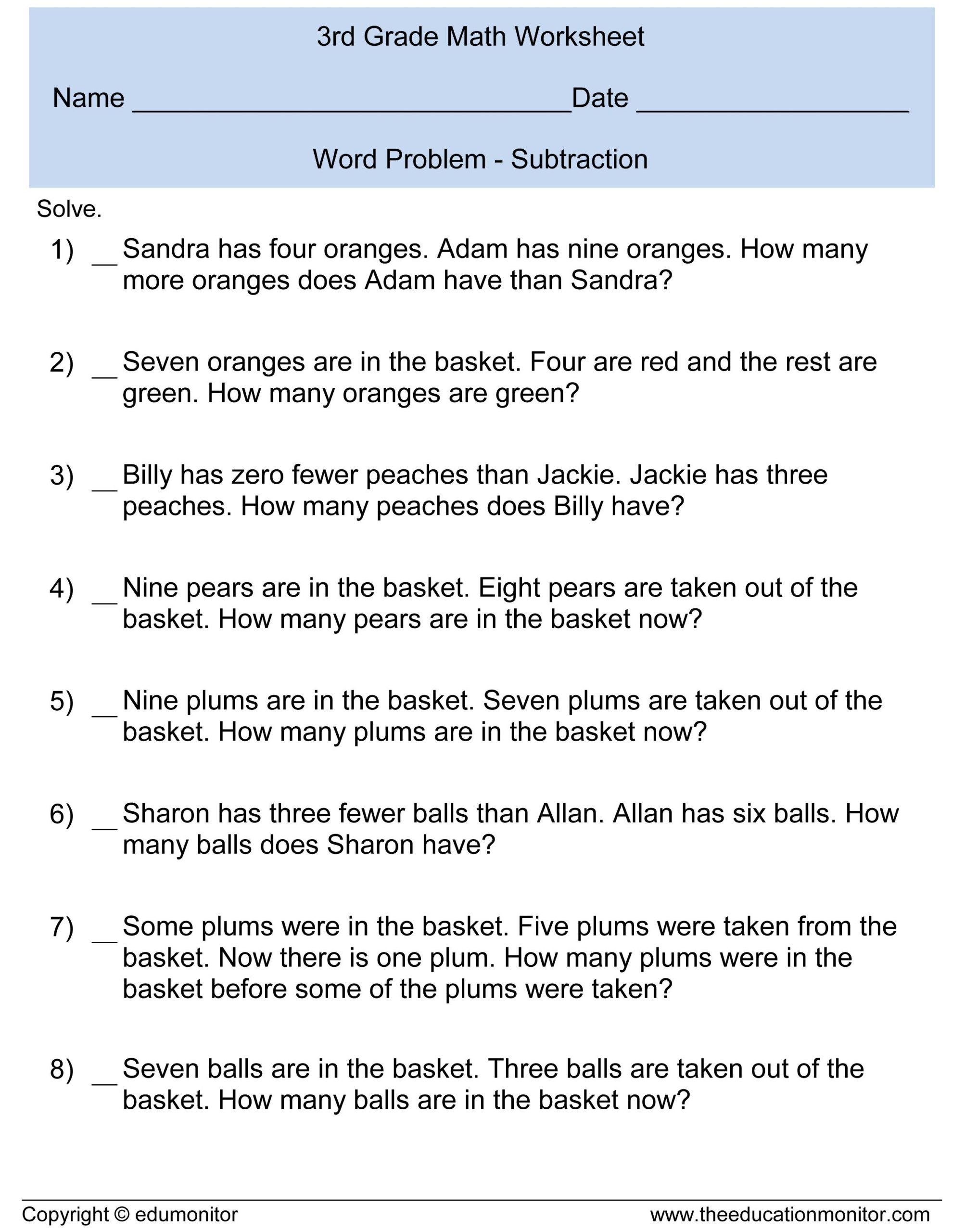 Adding And Subtracting Fractions Worksheets Word Problems