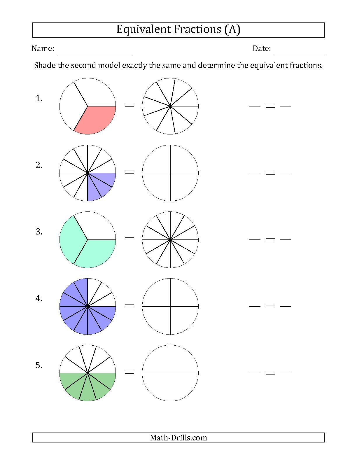 Understanding Equivalent Fractions Worksheet