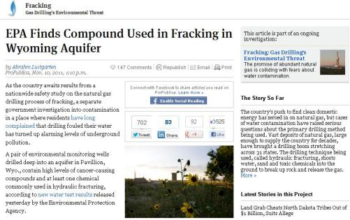 EPA detecta liquido fracking Wyoming