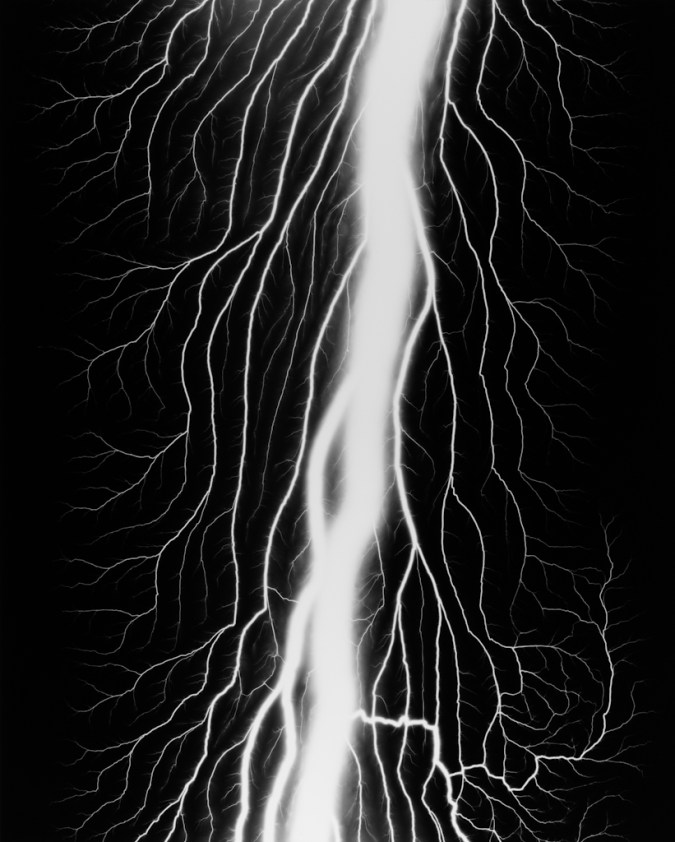 Black-and-white photograph of a vertical white trail of light with smaller branches coming off of it on a black background