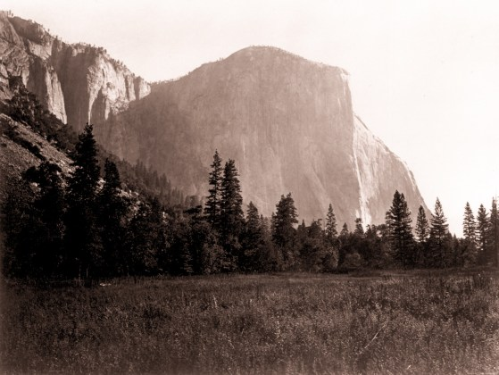 El Capitan at the Foot of the Mariposa Trail, ca. 1865-66, mammoth-plate albumen print  on original mount