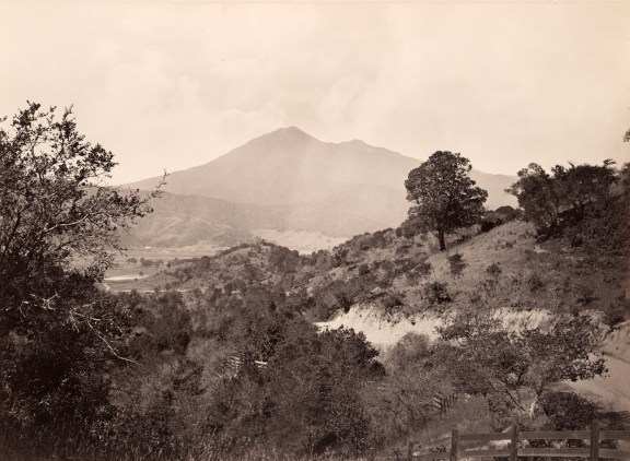 Albumen photograph of scrubland foothills with a mountain's peaks in the distance