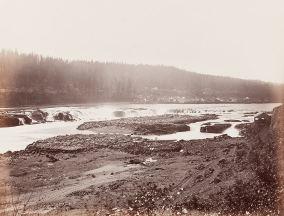 Albumen photograph of small rapids and waterfalls in a river from a rocky shore