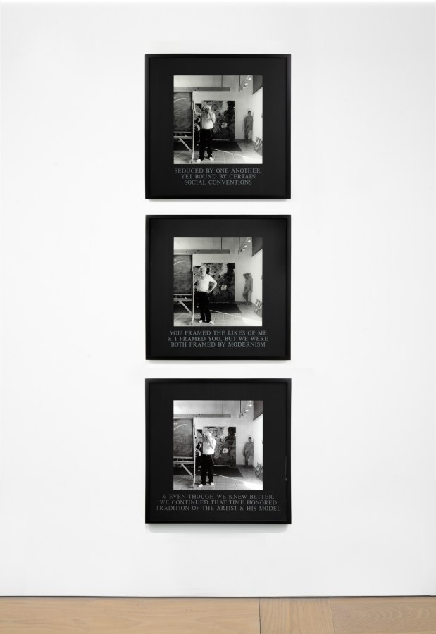 Installation view of three black-and-white photographs showing a painter's studio, with a male painter in the center of the space and a nude female model in a back corner.