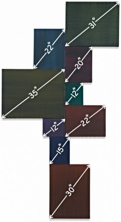Painting of various square panels showing different measurements