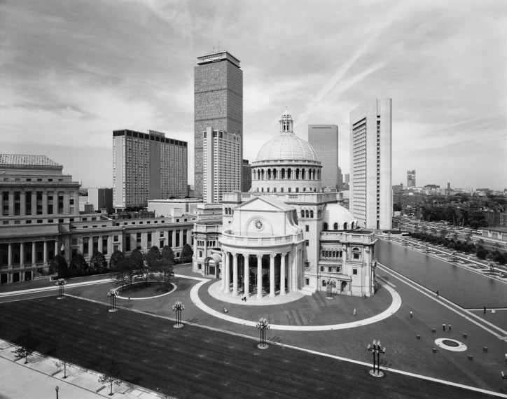 View of Mother Church and Christian Science Center, Boston, 1975, gelatin-silver contact print