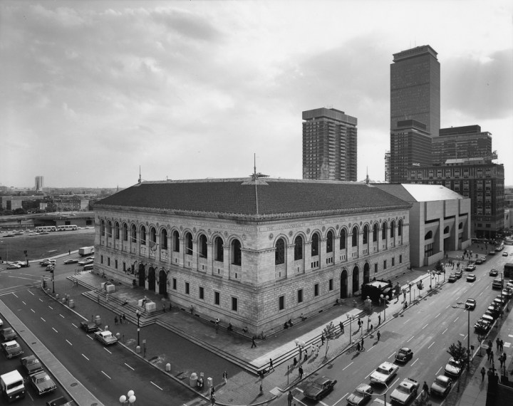 View of Boston Public Library, 1974, gelatin-silver contact print