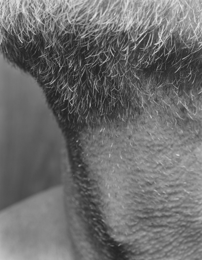 Black-and-white close-up photograph of the stubble and beard around the chin and neck