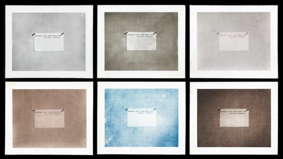 "Six different colored panels of a photograph of an index card with writing ""photographs can not record abstract ideas Encyclopedia Brittanica"""