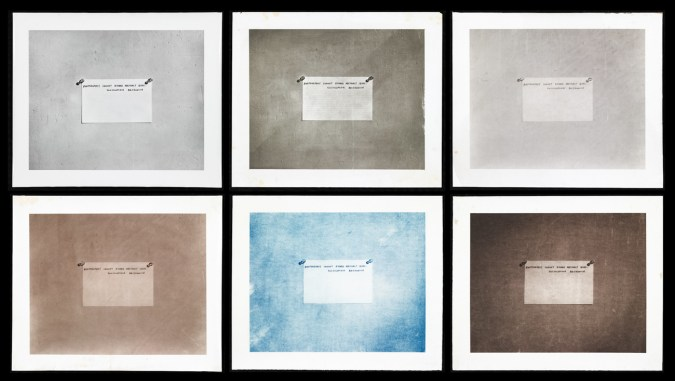 """Six different colored panels of a photograph of an index card with writing """"photographs can not record abstract ideas Encyclopedia Brittanica"""""""