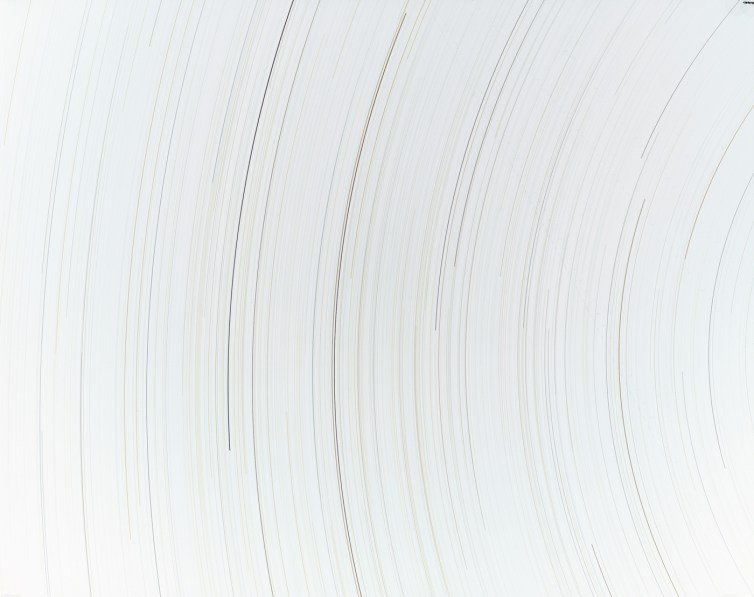 Inverted color photograph of curved black lines on a white background