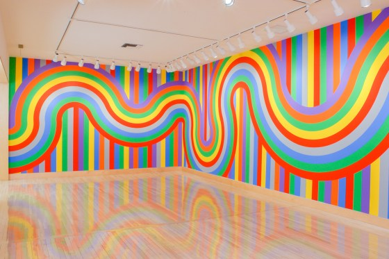 Wall Drawing #1136, 2004, straight and not-straight color bands;  primary and secondary colors plus gray